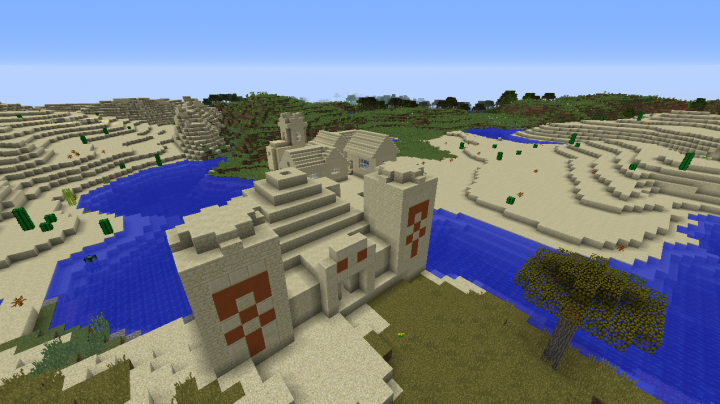 Desert temple village seed Minecraft 1.8.2 savanna desert swamp plains river double temple.png