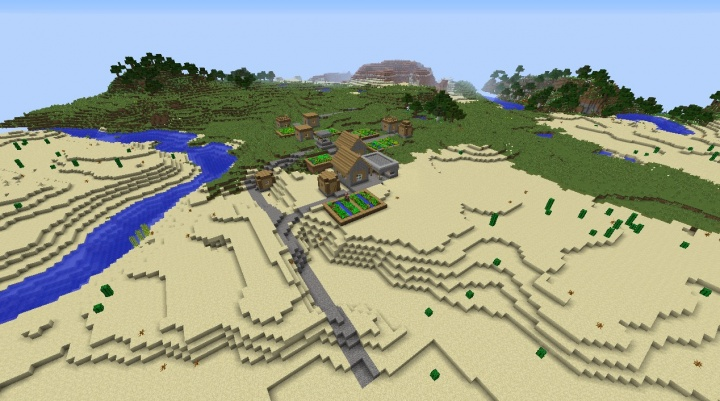 Minecraft 1.8.3 plains seed with flower forest nearby and mesa biomes.jpg