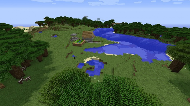 Small Minecraft village seed 1.8.8 with farm and private lake.jpg
