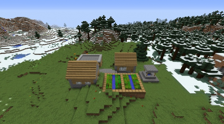 Minecraft snow village 1.8.3 plains village small tiny by taiga flowers roses tulips dirt grass weeds.jpg