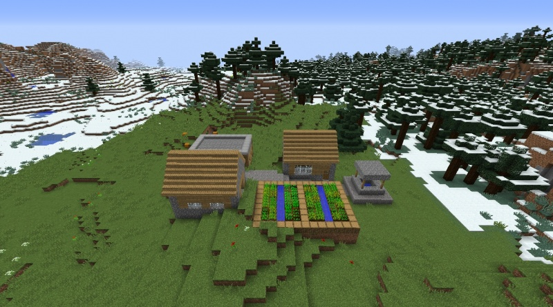 File:Minecraft snow village 1.8.3 plains village small tiny by taiga flowers roses tulips dirt grass weeds.jpg