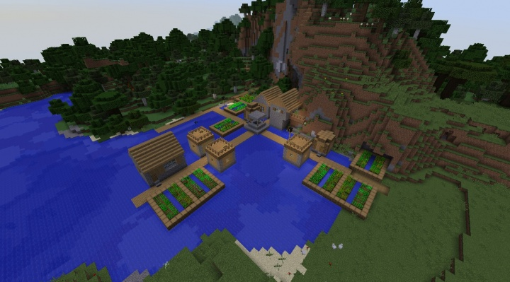 Minecraft 1.11.2 water village seed on lake.jpg