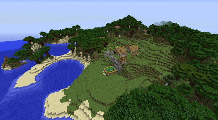 Minecraft roofed forest seed with village, spawners, and cave system.jpg