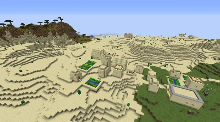 Minecraft plains desert village seed with desert temple nearby and savanna biomes.jpg