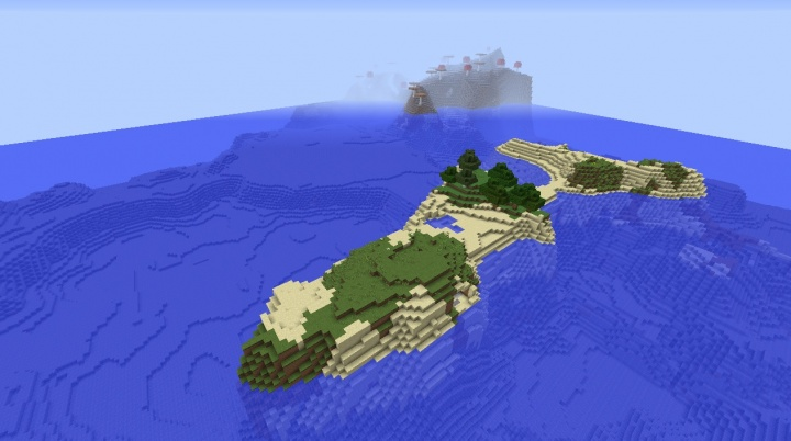 Minecraft survival island seed 1.8.3 with mushroom biome in background amazing cool fun seeds.jpg