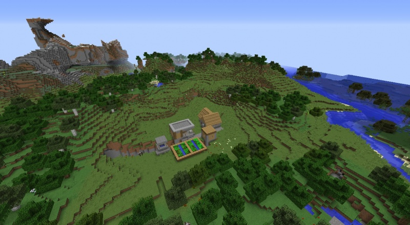 File:Minecraft swamp village seed 1.8.3 with cows fissure village horses second village two.jpg
