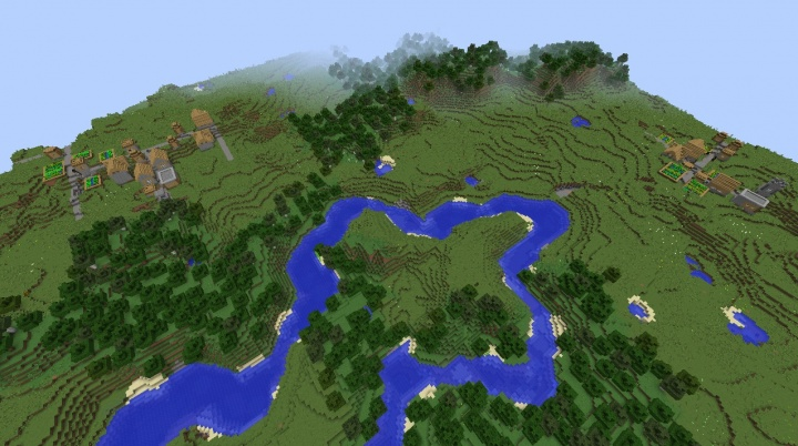 Minecraft village seed 1.8.3 two village in sight forest plains biome spawn diamonds.jpg