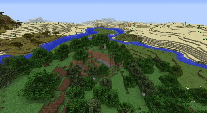 Minecraft forest seed 1.8.3 desert temple across river savanna and village nearby.jpg