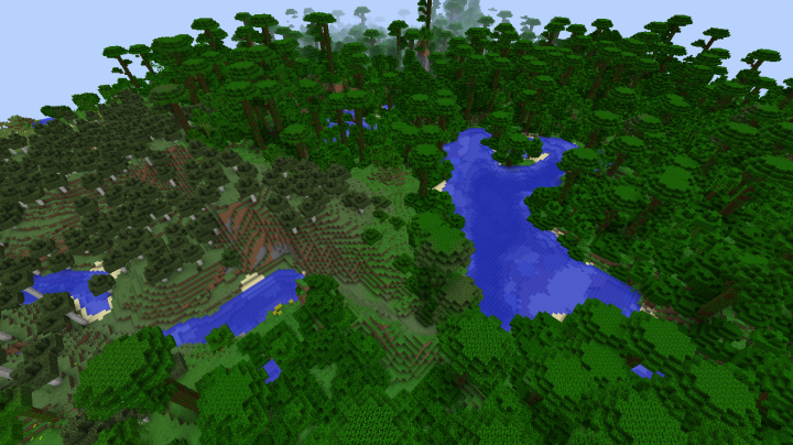 Minecraft 1.8.3 jungle seed with birch forest nearby and no jungle temple just jungle biome.png