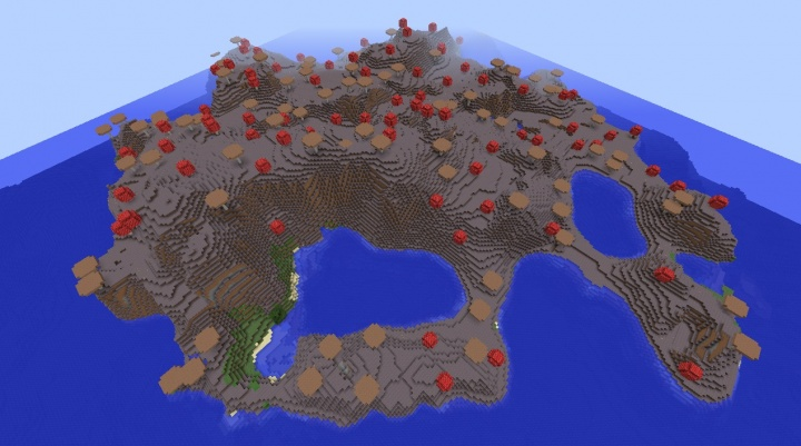 Minecraft 1.8.3 mushroom biome seed with island nearby giant mushrooms red brown fun cool amazing epic.jpg