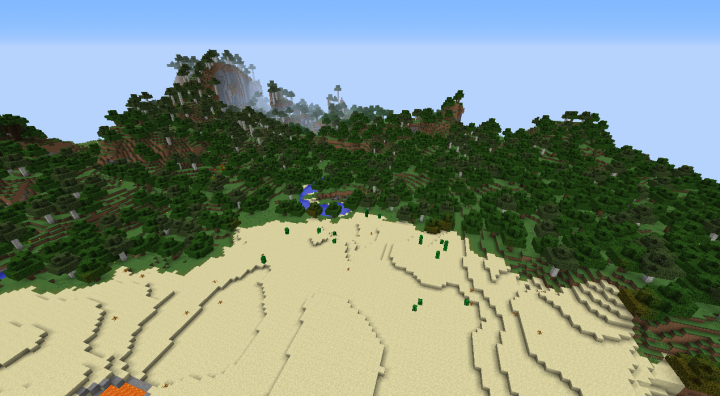 Minecraft 1.8.3 desert forest seed at spawn with bich forest hills.png