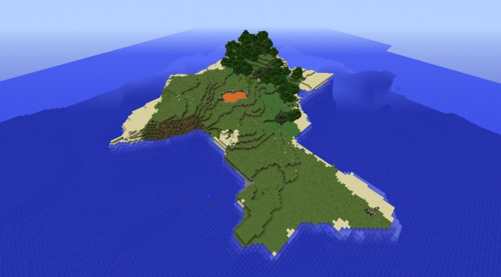 Minecraft survival island seed 1.9 with private lava pool and forest section.jpg