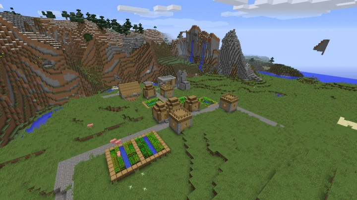 Minecraft village seed 1.8.7 butcher blacksmith taiga moutnains village by ocean.jpg