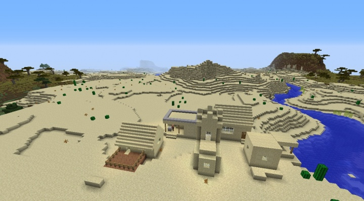 Minecraft desert seed 1.8.1 with a village by savanna river and temple built in five diamonds.jpg