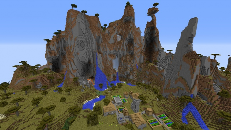 File:Minecraft mountain seed 1.8 village surrounded by mountains and extreme hills savanna.jpg