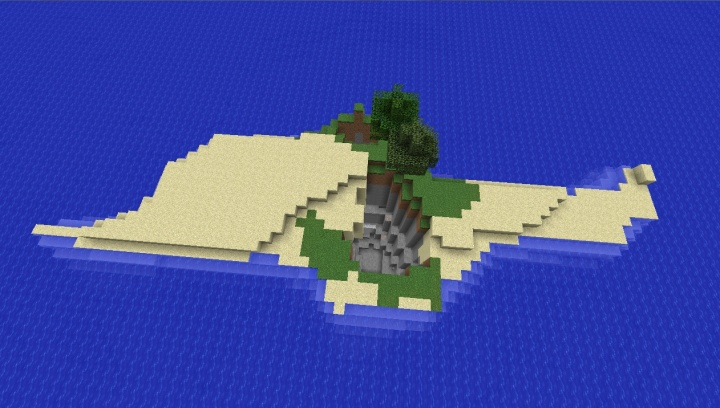 Minecraft 1.8.4 island seed with crater and two trees sand barge.jpg