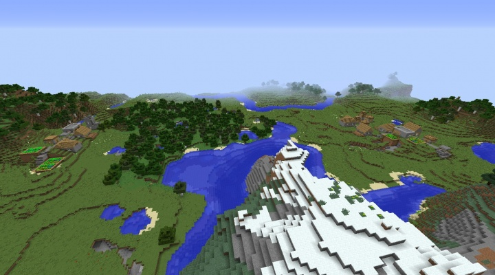 Two Minecraft villages in sight of eachother Minecraft 1.8.2 village seed plains taiga village by forest river pond lake.jpg