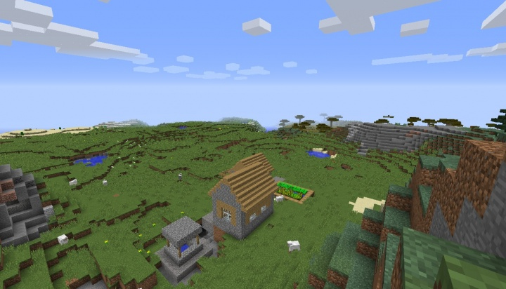 Minecraft 1.8.7 cave village seed multi biome fun.jpg