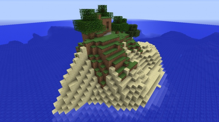 Minecraft 1.8.8 survival island seed with big hill and trees.jpg