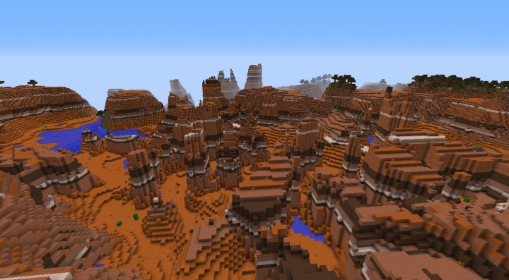 Minecraft 1.8.3 bryce seed with mesa biome and forest plateau rivers lake clay.jpg
