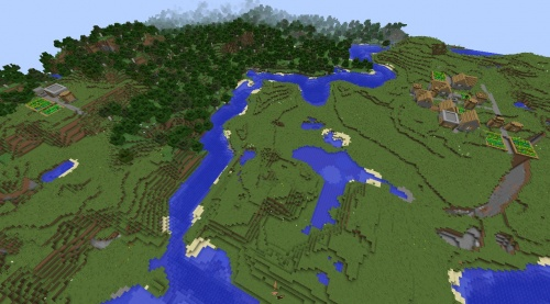 Minecraft village seed 1.8.3 two vilages horses fissure villages forest village water rivers lake.jpg