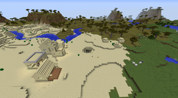 Five diamond village seed Minecraft 1.8.2 desert temple built in small village blacksmith.png
