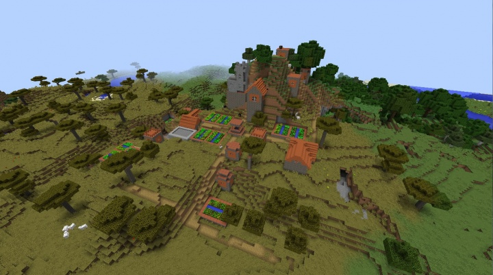 Minecraft 1.11.2 village seed on a mountain.jpg