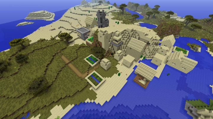 Minecraft Xbox 360 seed village at spawn water desert savanna.jpg