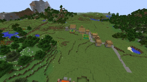 Minecraft village seed with flower forest 1.8.3 lakes and forest as well taiga blacksmith saddle.jpg