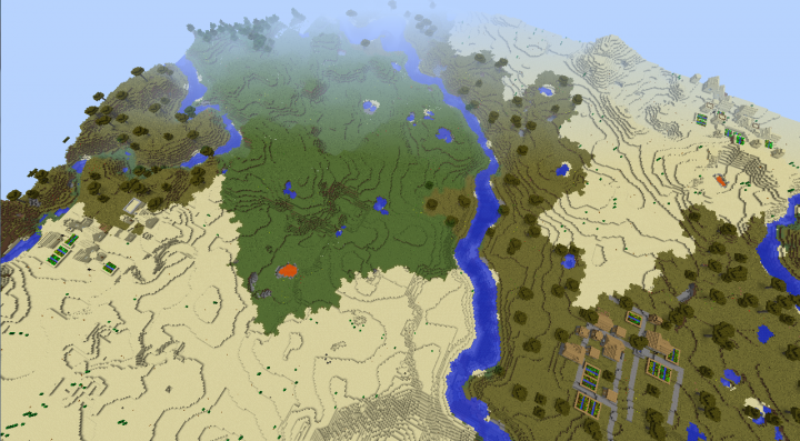 Cool Minecraft seed 1.8.3 three in sight villages, diamonds, desert temple seeds.png