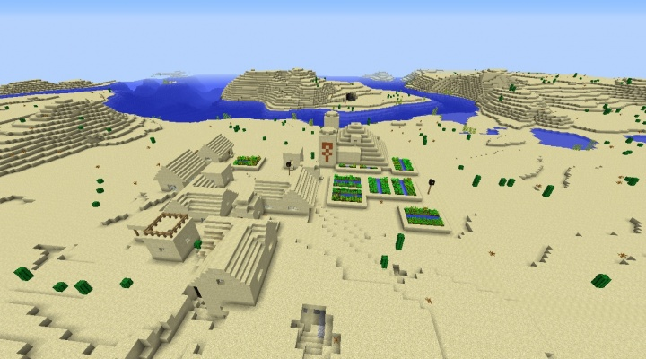 Minecraft 1.8 desert seed with village and temple out by the water in the desert.jpg