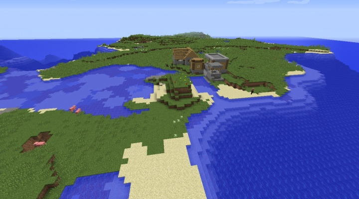 Minecraft 1.8.4 village seed on plains island with pigs.jpg