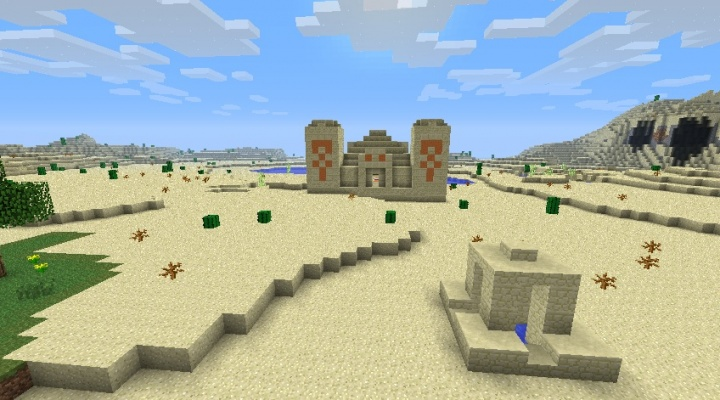 Minecraft 1.5.2 desert seed with temple, well, and three diamonds.jpg