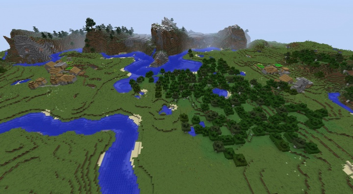 A tale of two Minecraft village seed 1.8.2 literally in sight of eachother.jpg
