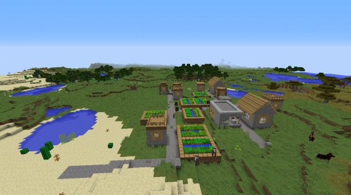 Minecraft 1.8 plains seed with horses savanna and desert forests water lake pond ocean.jpg