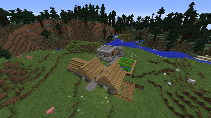 Minecraft mega taiga village seed pigs sheep trees blacksmith diamond saddle iron seeds.jpg