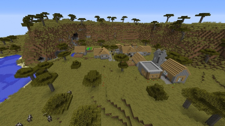 Minecraft village seed five villages three temples diamonds cows ponds lakes savanna awesome cool best fun amazing.jpg