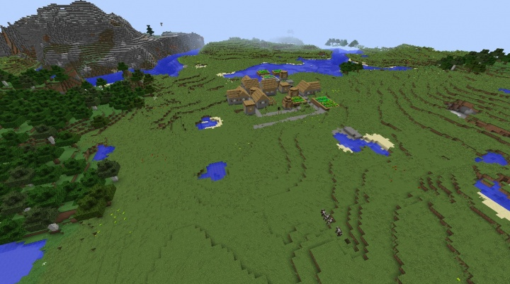 1 Minecraft 1.8.3 village seed with taiga mesa and forests.jpg