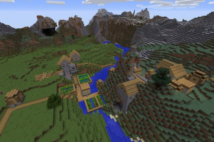 Minecraft gigantic mountain village seed 1.12.1 surrounded by mountains.jpg