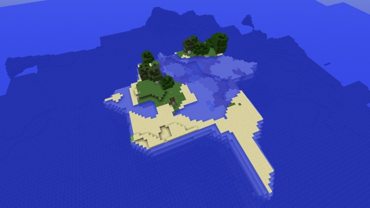 Minecraft iron mine island seed with private iron mine and some trees.jpg
