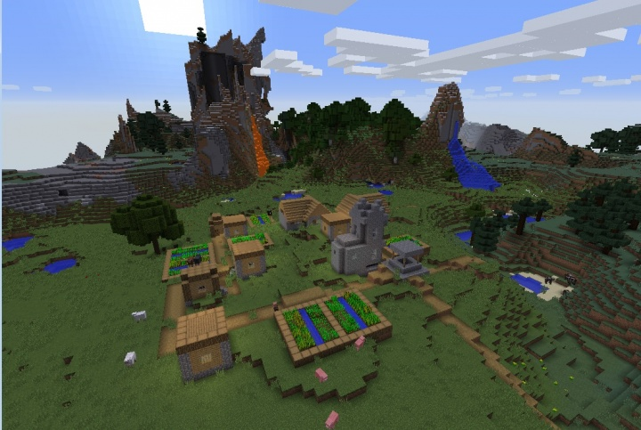 Minecraft 1.12.1 village seed by taiga with waterfalls.jpg
