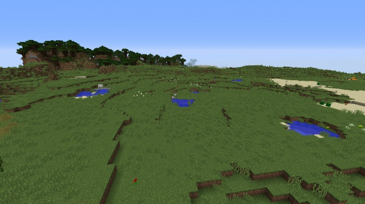 Minecraft 1.8.3 plains seed at triple split with savanna and desert biomes mushrooms hills village.jpg