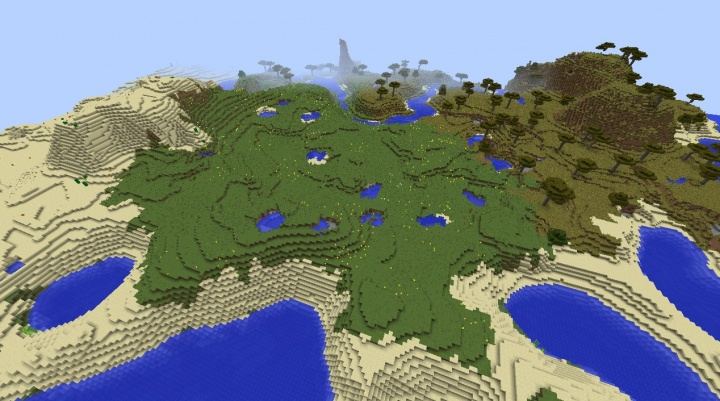Minecraft sunflower seeds plains 1.8.3 biome with savanna mountain desert temple diamonds.jpg