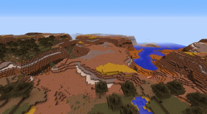 Minecraft 1.8.3 mesa seed spawn at bryce by clay colors beautiful fun interesting trees mesa forest.jpg