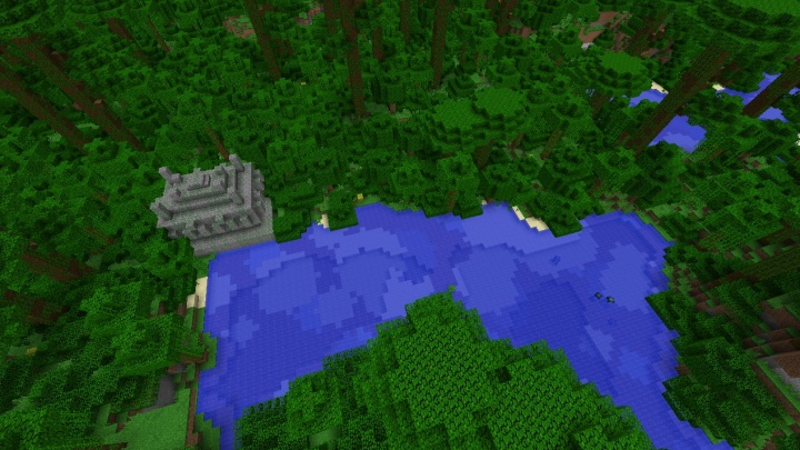 Minecraft 1.8.3 jungle seed with temple and hills and diamonds water trees squash.jpg