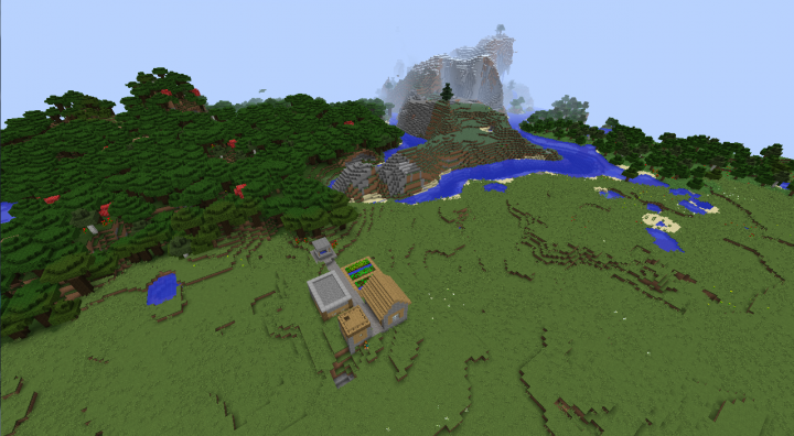 Roofed forest plains taiga village seed Minecraft 1.8.2 extreme hills small village diamonds.png