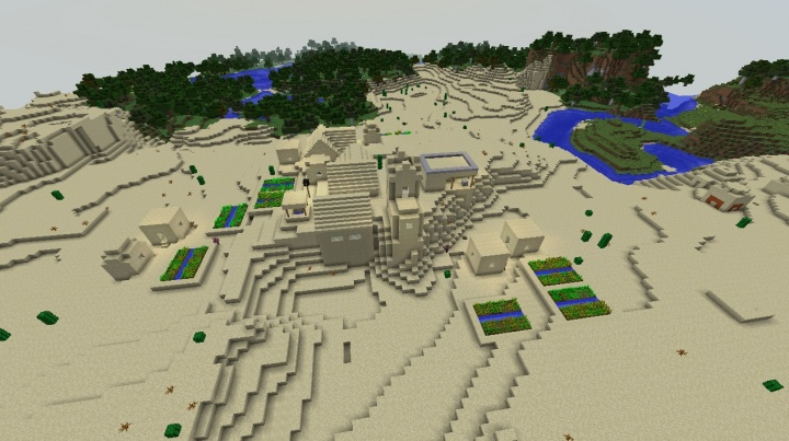 Minecraft village seed in desert by plains and buried desert temple make fun Minecraft seed.jpg