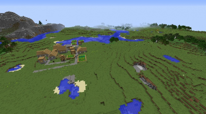 Minecraft 1.8.3 village seed with big plains for villager breeding.jpg
