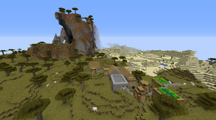 Minecraft savanna village seed with savanna mountain there and sheep desert cool fun amazing.jpg