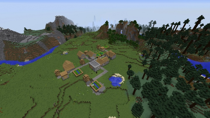 Minecraft village seed taiga mega taiga stronghold spruce trees water river lake plains villages.jpg